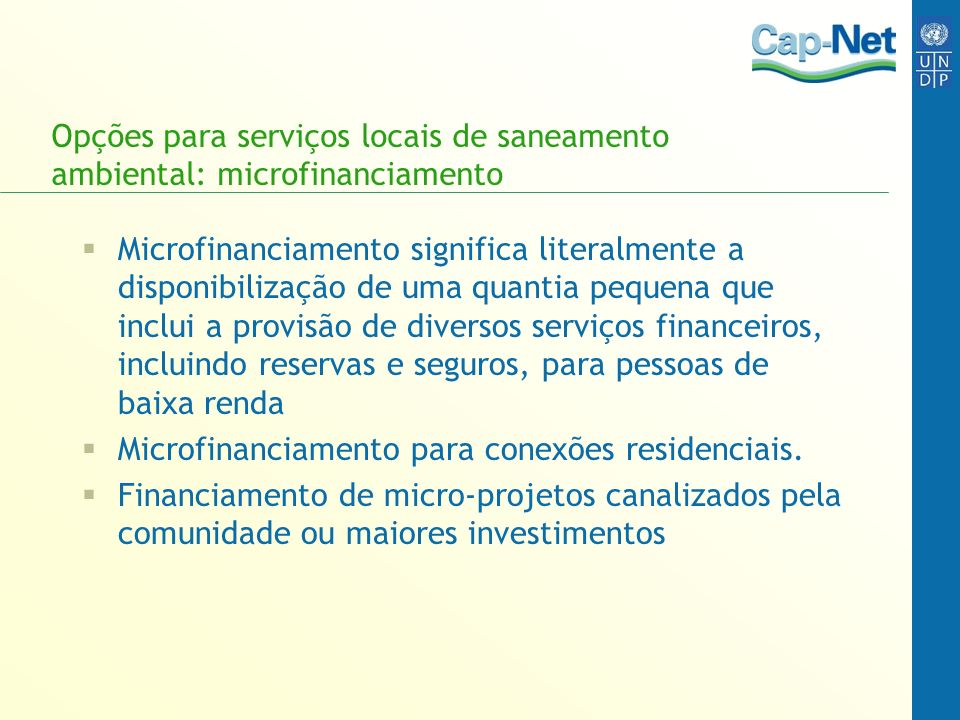 Opções para serviços locais de saneamento ambiental: microfinanciamento