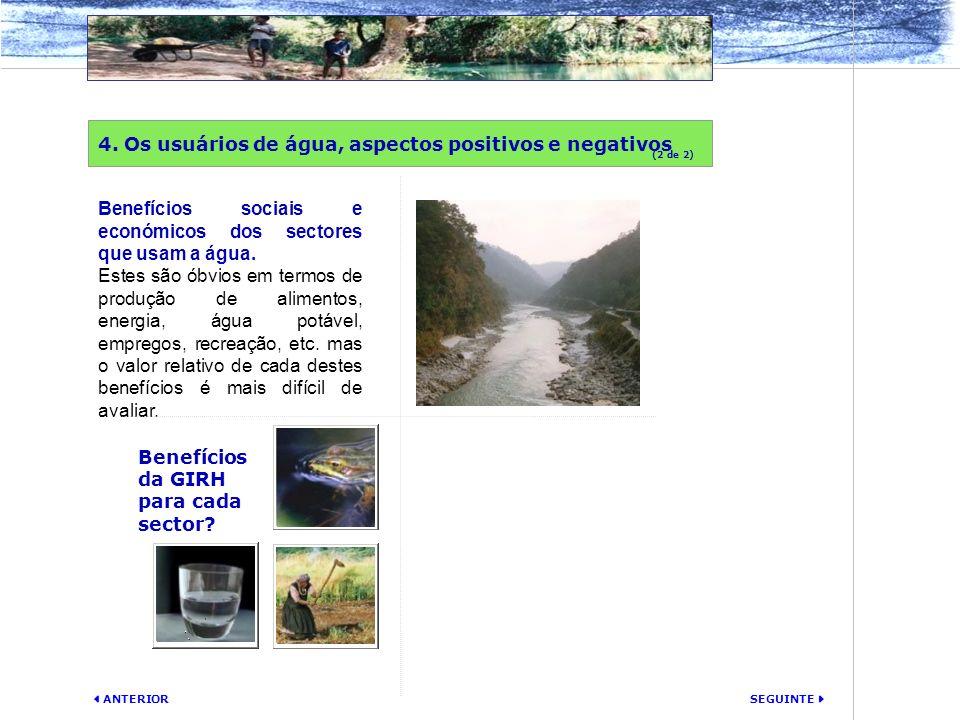 4. Os usuários de água, aspectos positivos e negativos