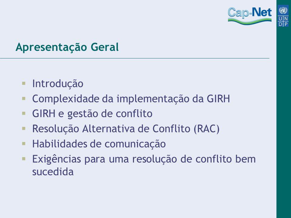 Apresentação Geral Introdução Complexidade da implementação da GIRH