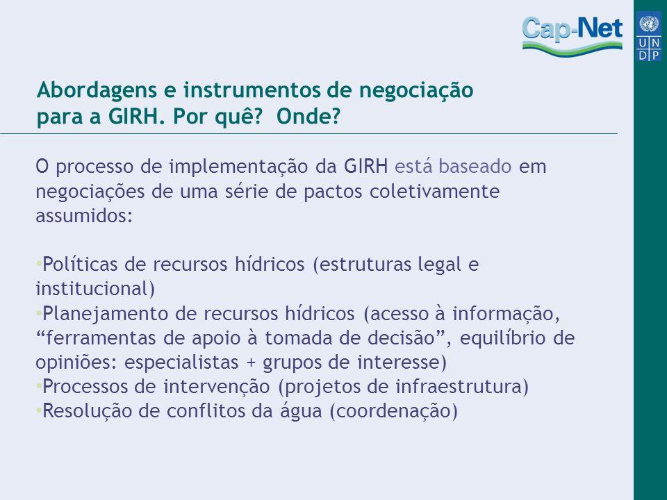 Abordagens e instrumentos de negociação para a GIRH. Por quê Onde