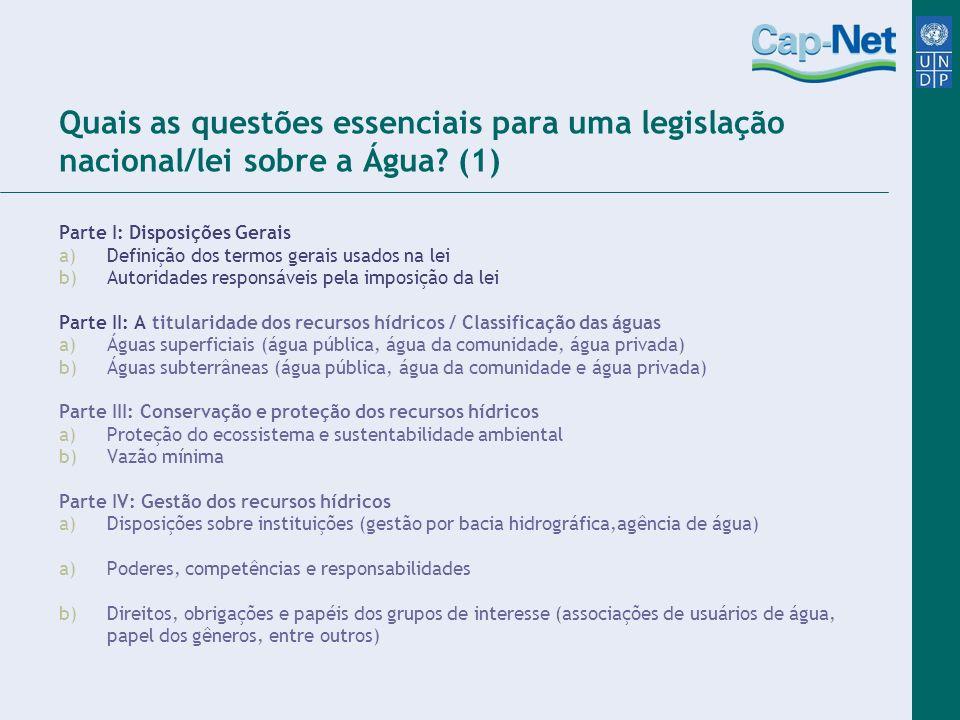 Quais as questões essenciais para uma legislação nacional/lei sobre a Água (1)