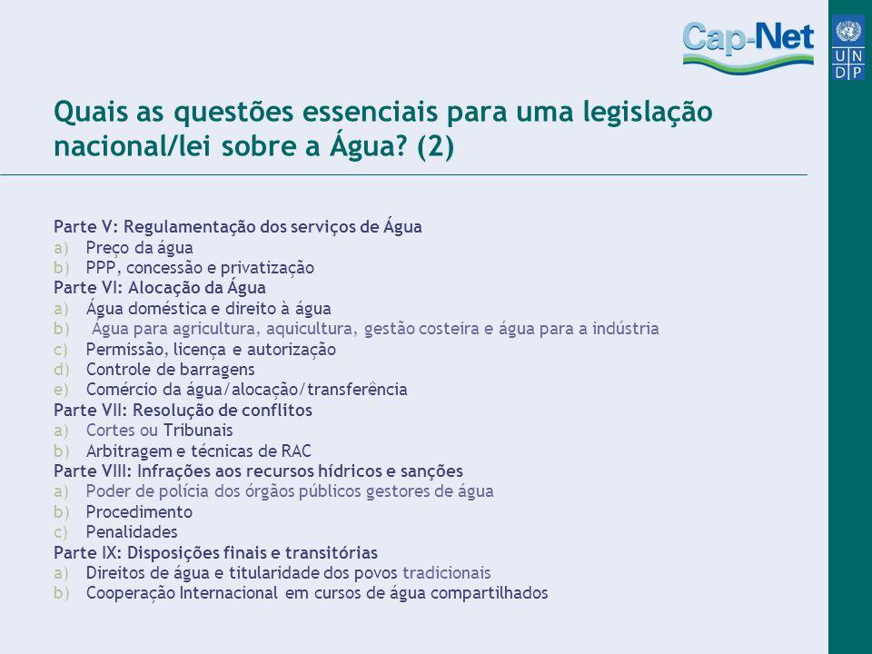 Quais as questões essenciais para uma legislação nacional/lei sobre a Água (2)