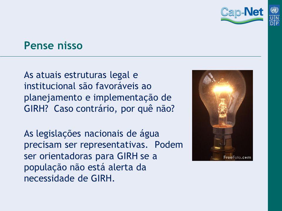 Pense nisso As atuais estruturas legal e institucional são favoráveis ao planejamento e implementação de GIRH Caso contrário, por quê não