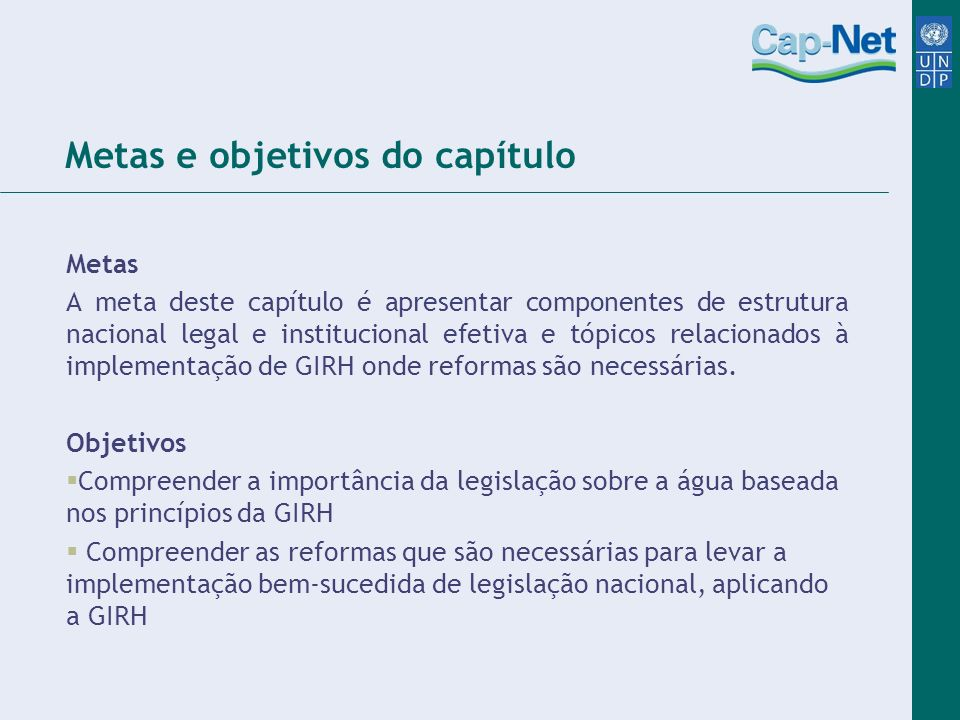 Metas e objetivos do capítulo