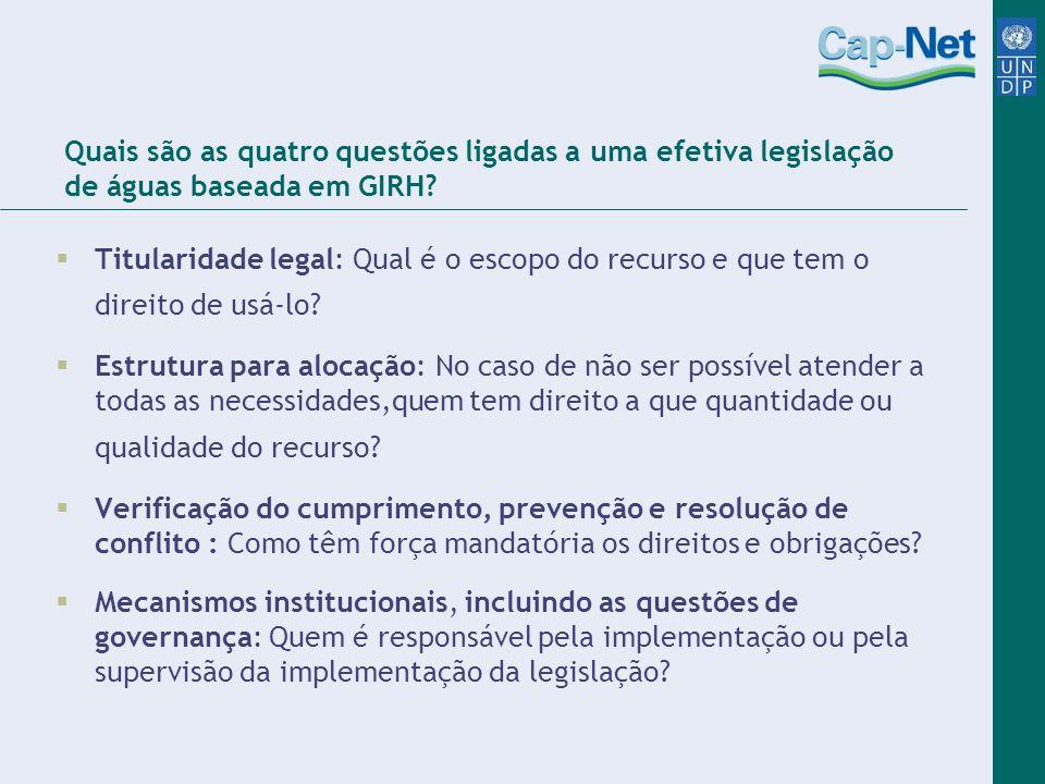 Quais são as quatro questões ligadas a uma efetiva legislação de águas baseada em GIRH
