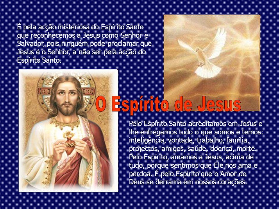 É pela acção misteriosa do Espírito Santo que reconhecemos a Jesus como Senhor e Salvador, pois ninguém pode proclamar que Jesus é o Senhor, a não ser pela acção do Espírito Santo.