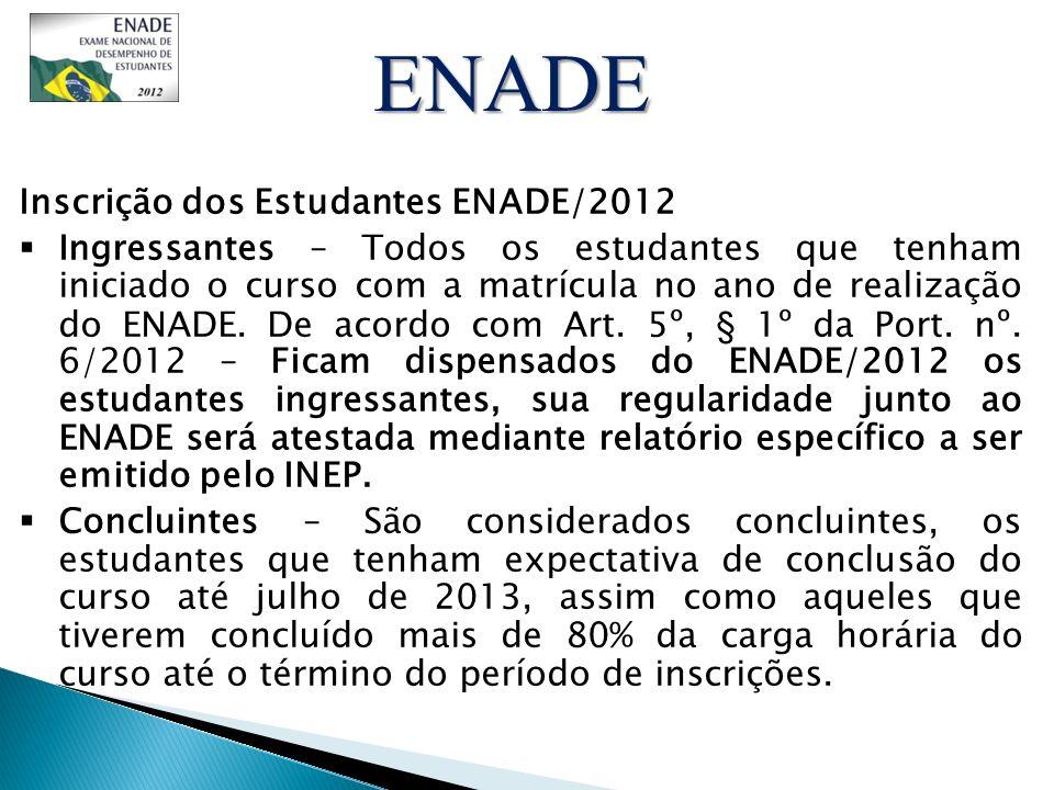 ENADE Inscrição dos Estudantes ENADE/2012