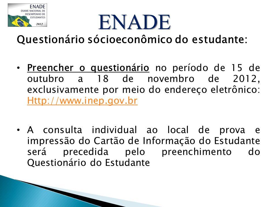 ENADE Questionário sócioeconômico do estudante: