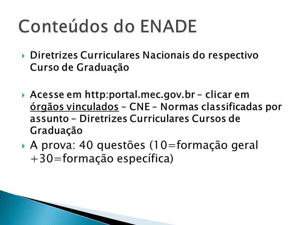 Conteúdos do ENADE Diretrizes Curriculares Nacionais do respectivo Curso de Graduação.