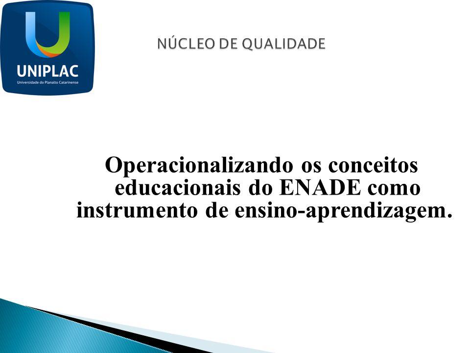 NÚCLEO DE QUALIDADE Operacionalizando os conceitos educacionais do ENADE como instrumento de ensino-aprendizagem.