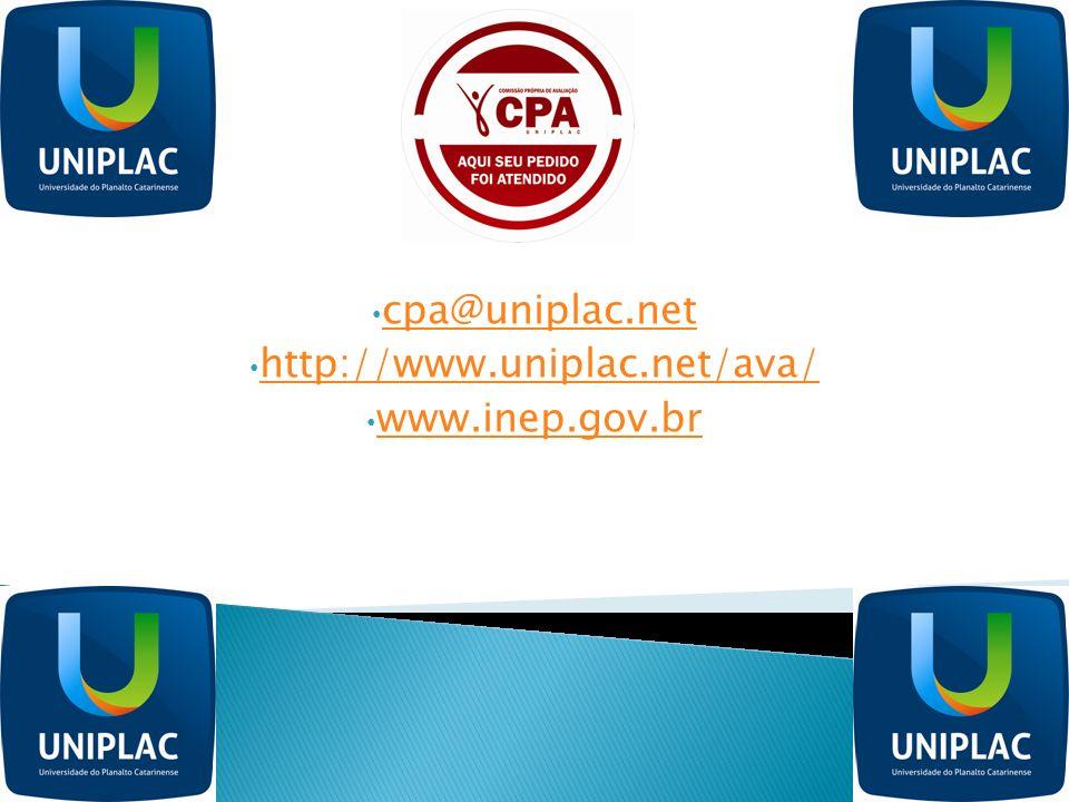 cpa@uniplac.net http://www.uniplac.net/ava/ www.inep.gov.br