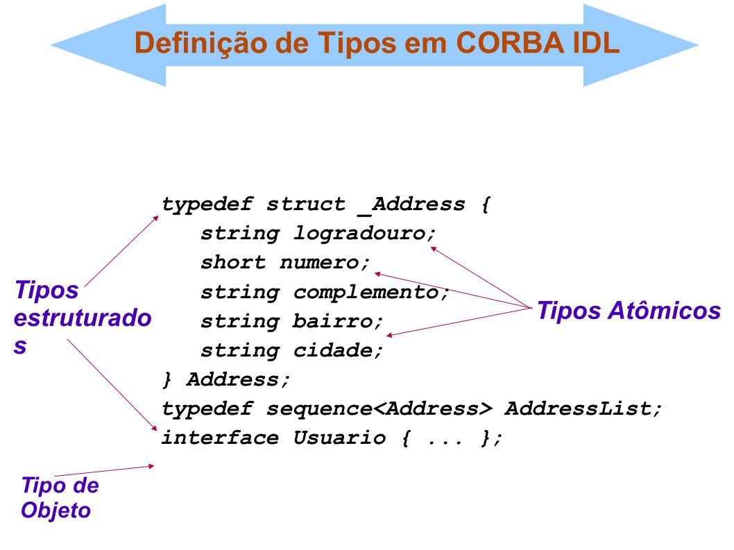Definição de Tipos em CORBA IDL