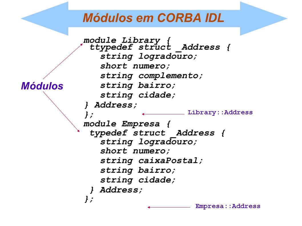 Módulos em CORBA IDL Módulos module Library {