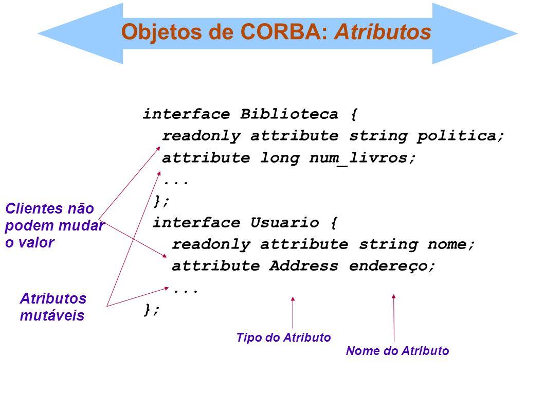 Objetos de CORBA: Atributos