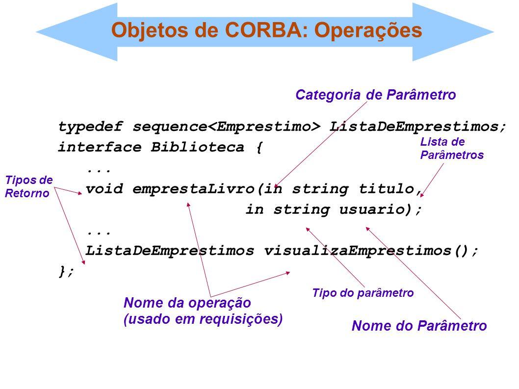 Objetos de CORBA: Operações