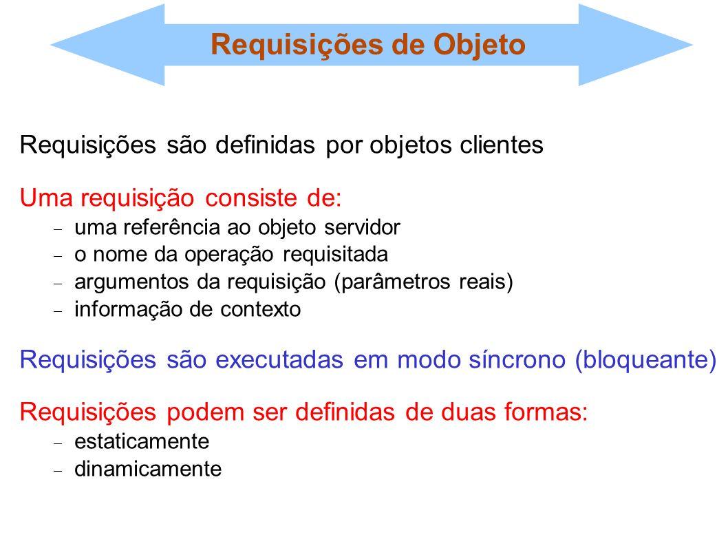 Requisições de Objeto Requisições são definidas por objetos clientes