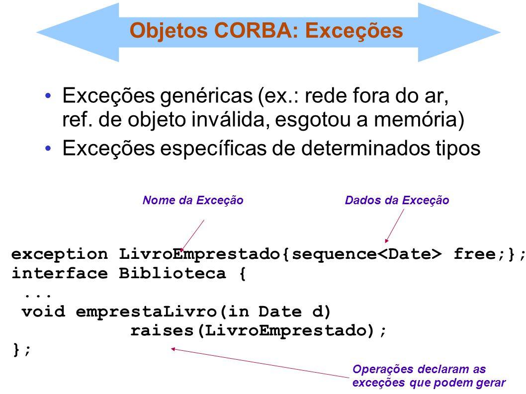 Objetos CORBA: Exceções