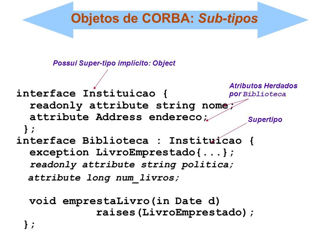 Objetos de CORBA: Sub-tipos