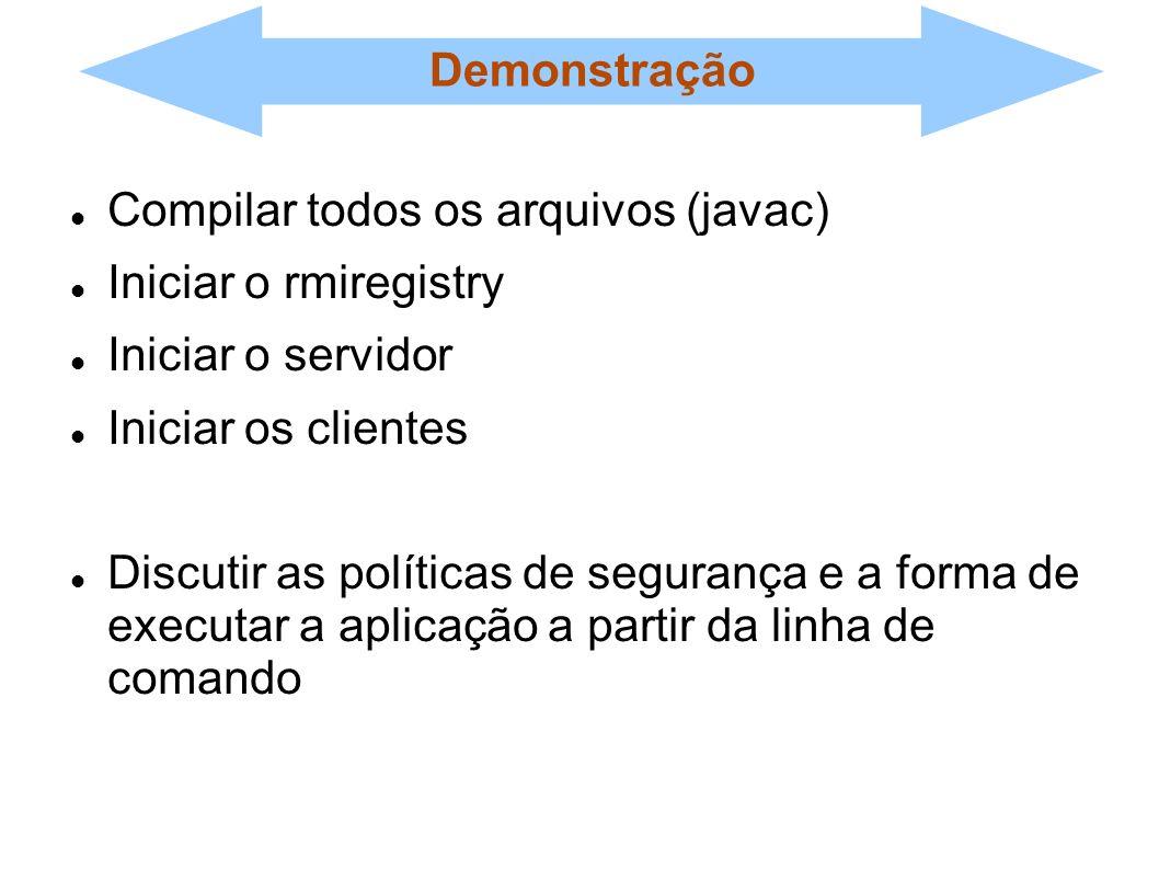 Demonstração Compilar todos os arquivos (javac) Iniciar o rmiregistry. Iniciar o servidor. Iniciar os clientes.