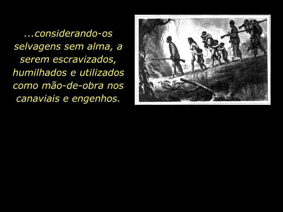 ...considerando-os selvagens sem alma, a serem escravizados, humilhados e utilizados como mão-de-obra nos canaviais e engenhos.