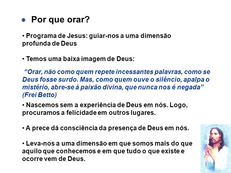 Por que orar Programa de Jesus: guiar-nos a uma dimensão profunda de Deus. Temos uma baixa imagem de Deus: