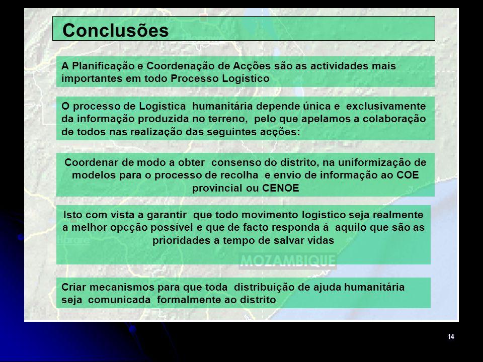 Conclusões A Planificação e Coordenação de Acções são as actividades mais importantes em todo Processo Logístico.