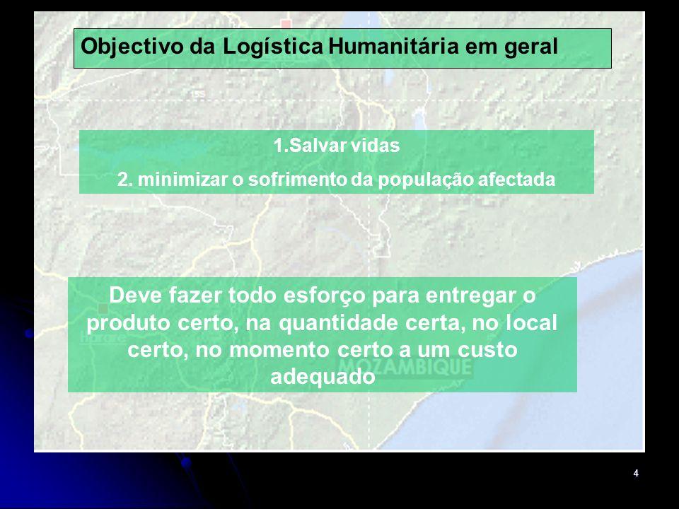 2. minimizar o sofrimento da população afectada