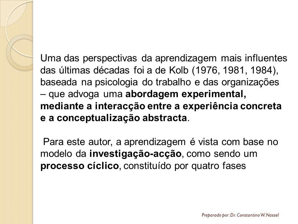 Uma das perspectivas da aprendizagem mais influentes das últimas décadas foi a de Kolb (1976, 1981, 1984), baseada na psicologia do trabalho e das organizações – que advoga uma abordagem experimental, mediante a interacção entre a experiência concreta e a conceptualização abstracta.