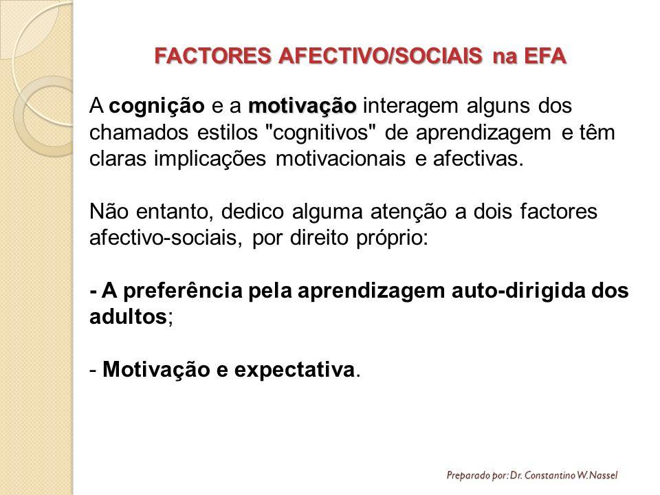 FACTORES AFECTIVO/SOCIAIS na EFA