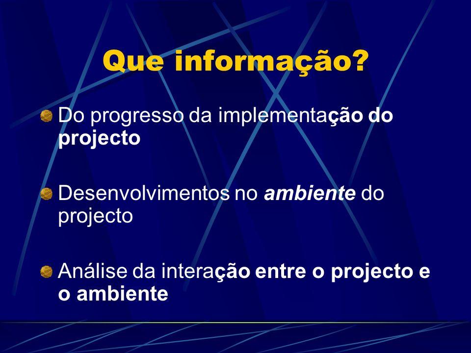 Que informação Do progresso da implementação do projecto