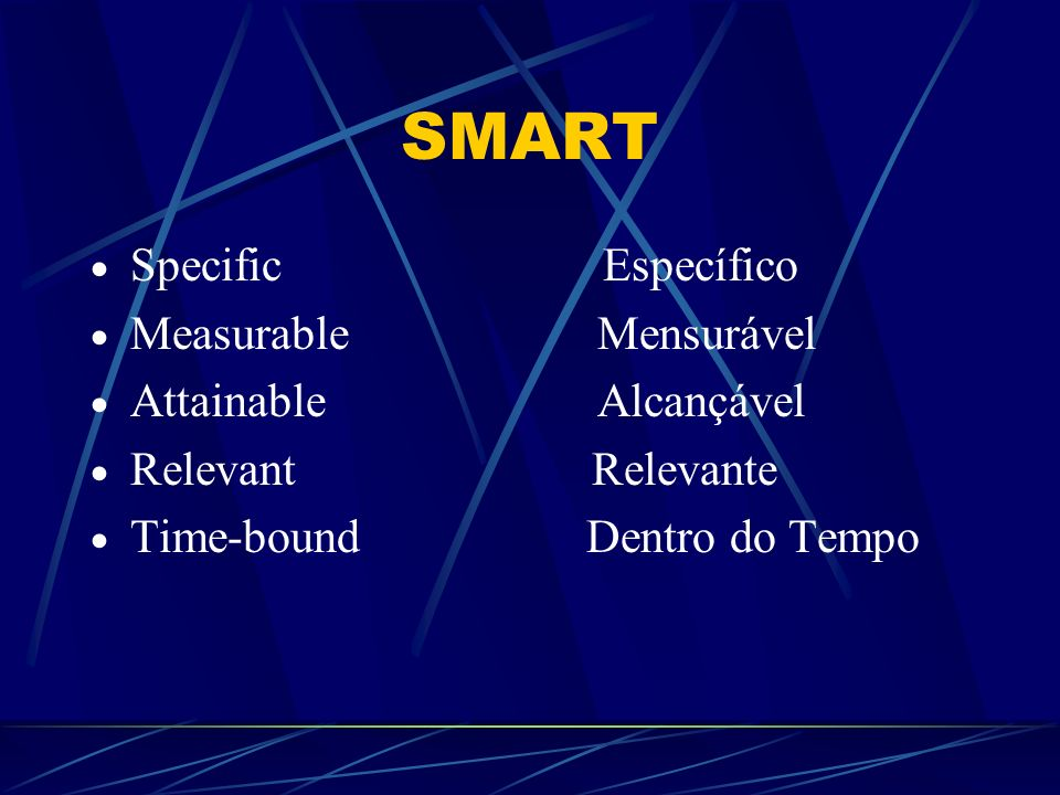 SMART Specific Específico Measurable Mensurável Attainable Alcançável