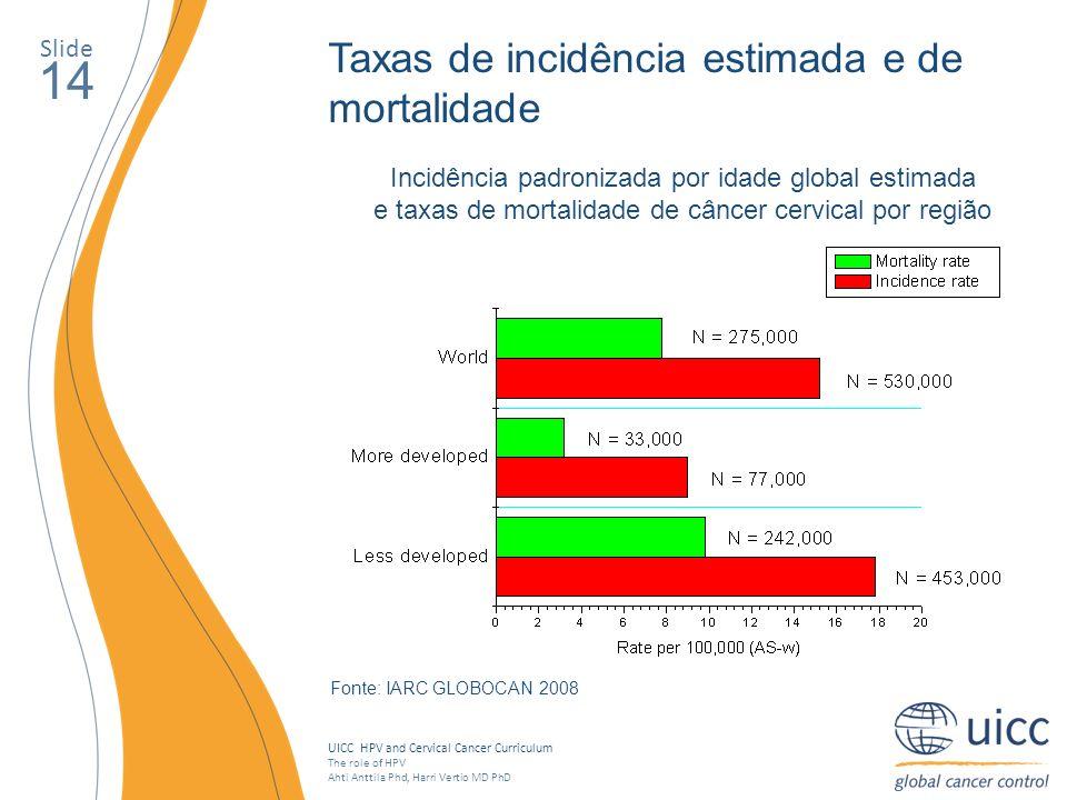 14 Taxas de incidência estimada e de mortalidade Slide