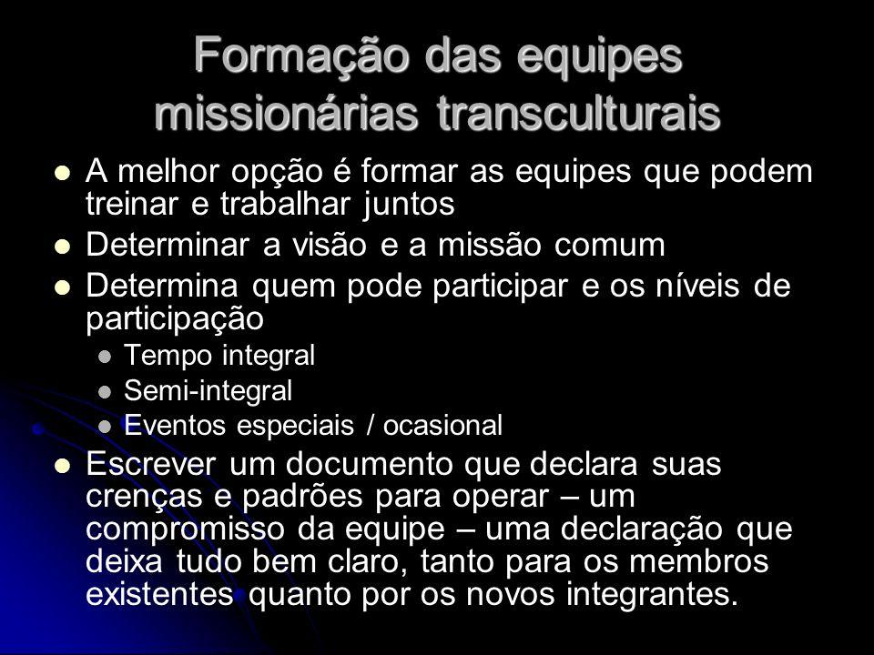 Formação das equipes missionárias transculturais