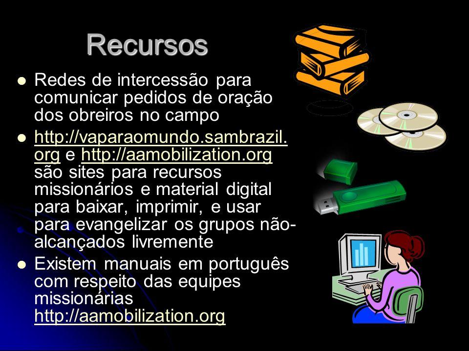 Recursos Redes de intercessão para comunicar pedidos de oração dos obreiros no campo.