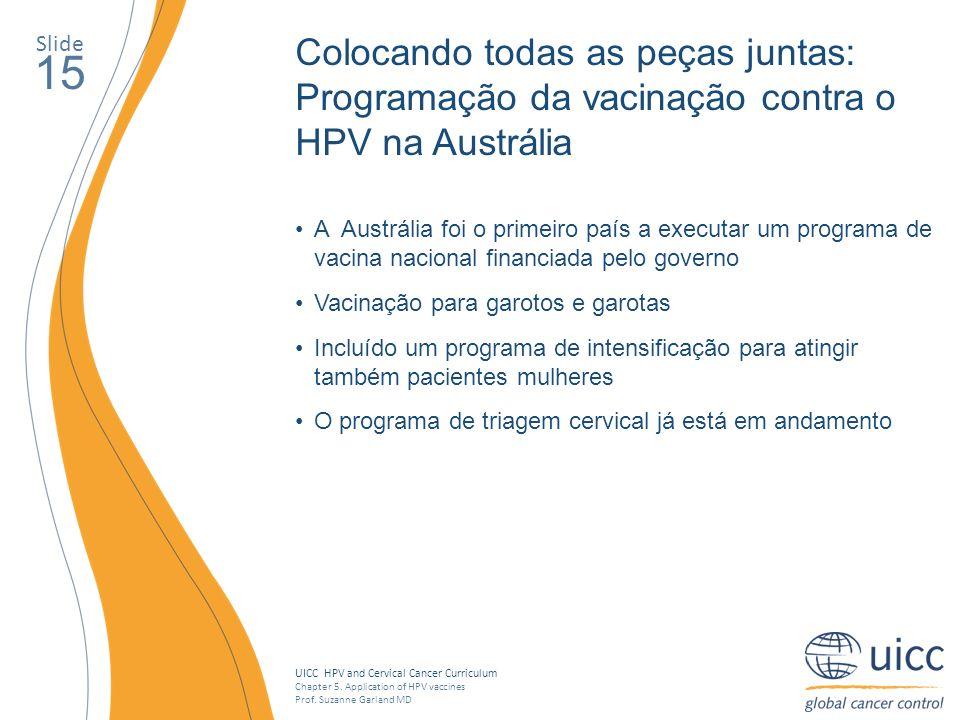 Slide Colocando todas as peças juntas: Programação da vacinação contra o HPV na Austrália. 15.