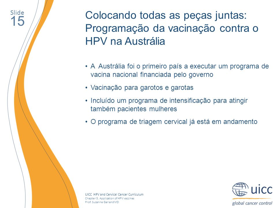 SlideColocando todas as peças juntas: Programação da vacinação contra o HPV na Austrália. 15.