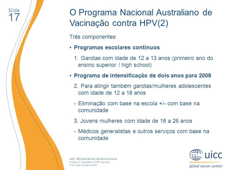 17 O Programa Nacional Australiano de Vacinação contra HPV(2) Slide
