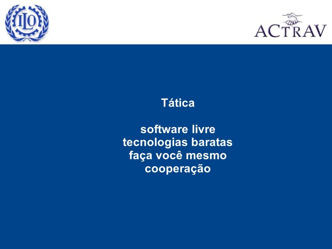 Tática software livre tecnologias baratas faça você mesmo cooperação