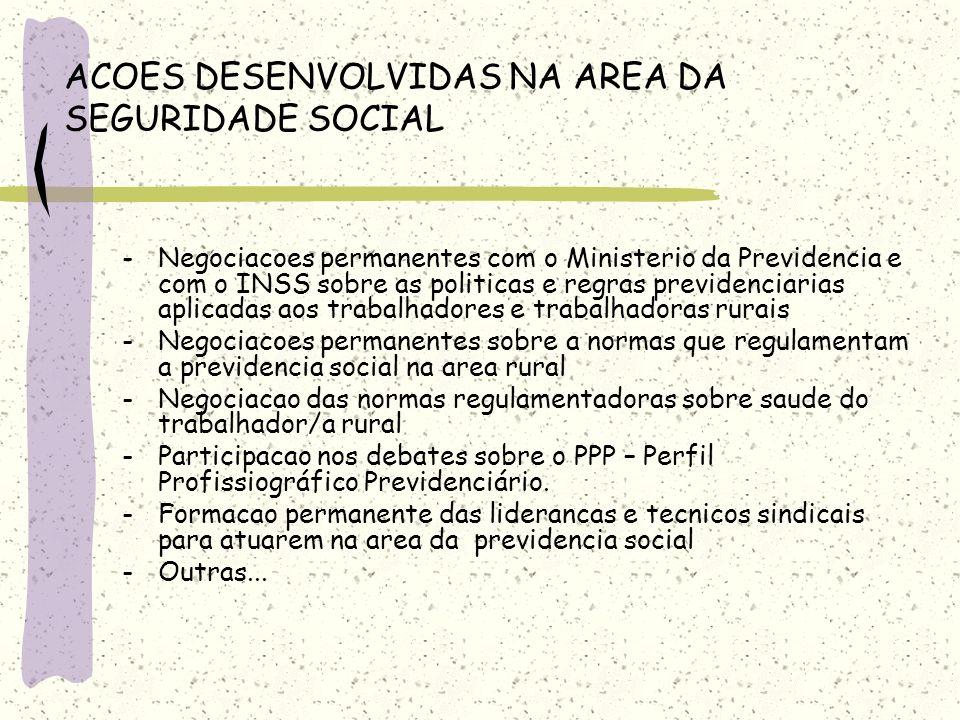 ACOES DESENVOLVIDAS NA AREA DA SEGURIDADE SOCIAL