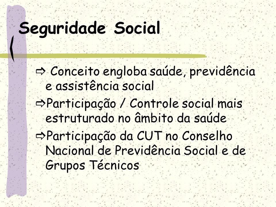 Seguridade Social  Conceito engloba saúde, previdência e assistência social. Participação / Controle social mais estruturado no âmbito da saúde.