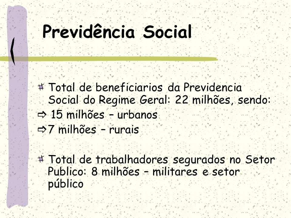 Previdência Social Total de beneficiarios da Previdencia Social do Regime Geral: 22 milhões, sendo: