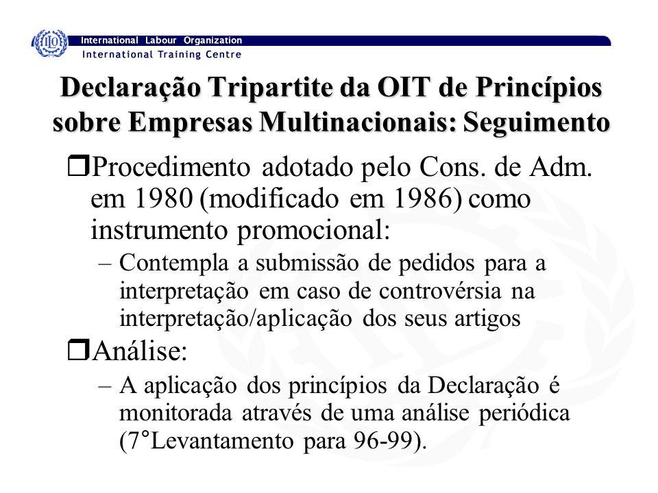 Declaração Tripartite da OIT de Princípios sobre Empresas Multinacionais: Seguimento