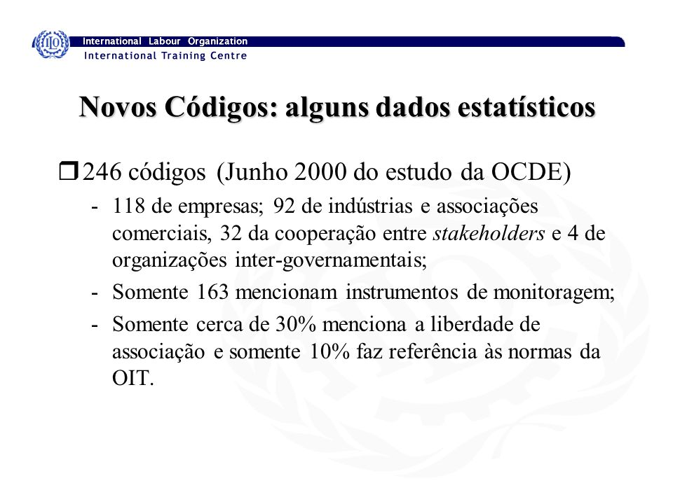 Novos Códigos: alguns dados estatísticos