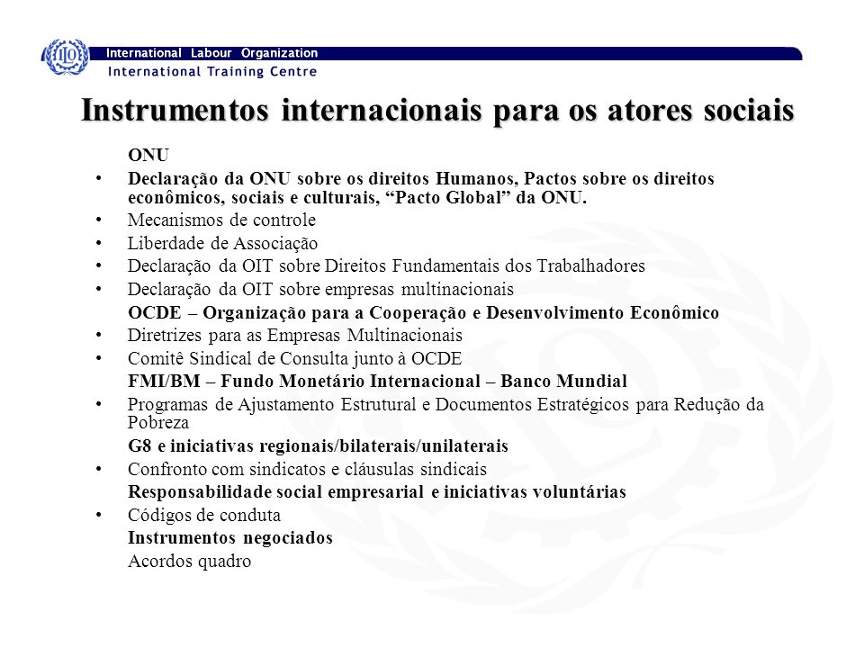 Instrumentos internacionais para os atores sociais