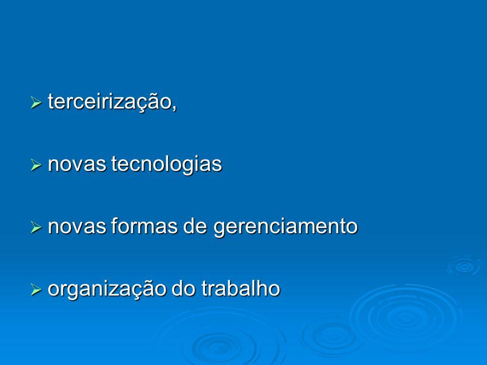 terceirização, novas tecnologias novas formas de gerenciamento organização do trabalho