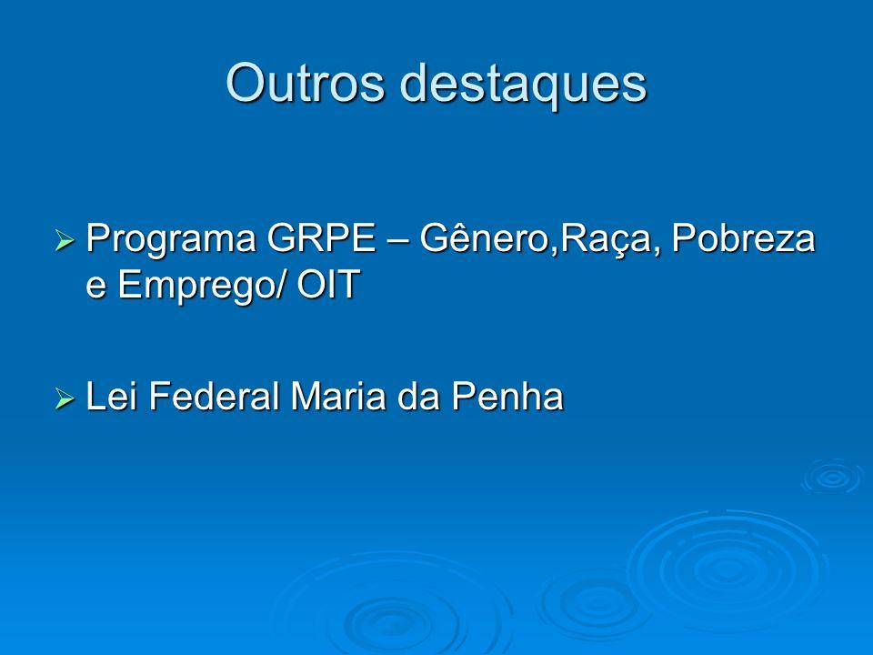 Outros destaques Programa GRPE – Gênero,Raça, Pobreza e Emprego/ OIT