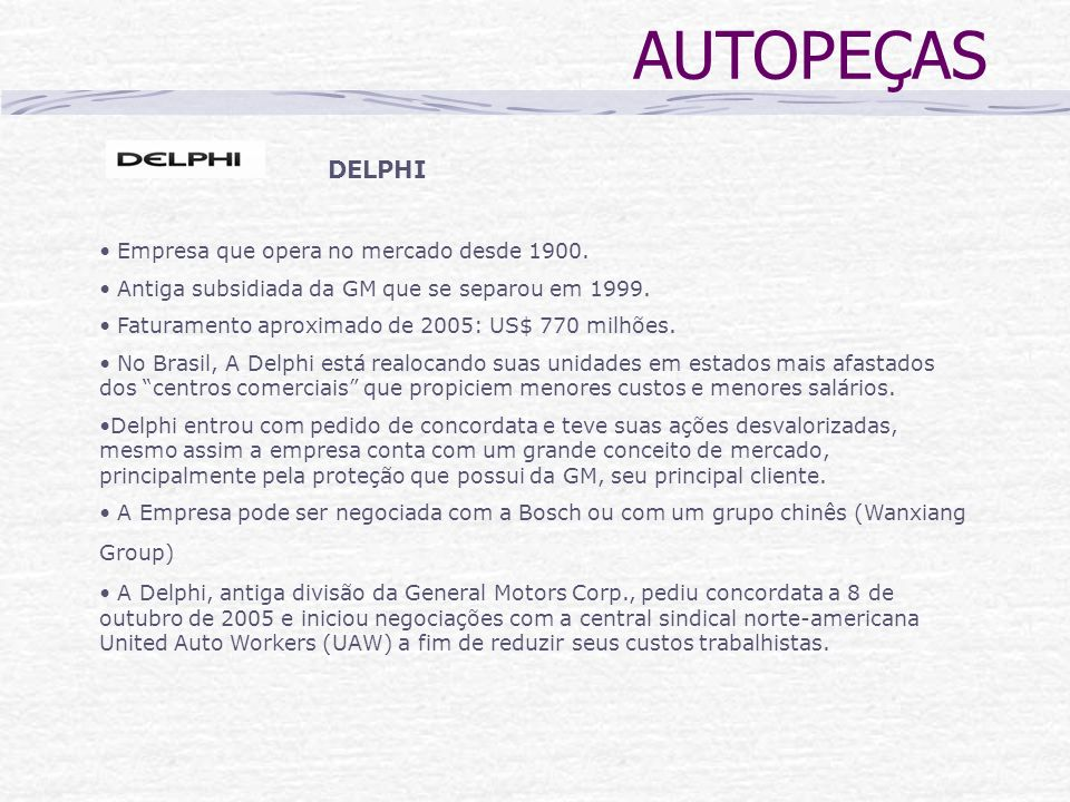 AUTOPEÇAS DELPHI Empresa que opera no mercado desde 1900.