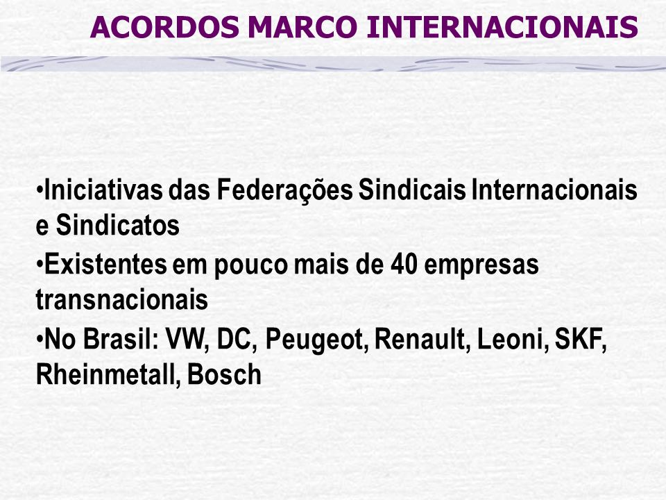 ACORDOS MARCO INTERNACIONAIS