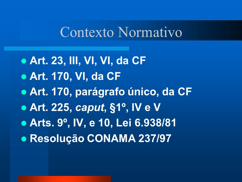 Contexto Normativo Art. 23, III, VI, VI, da CF Art. 170, VI, da CF