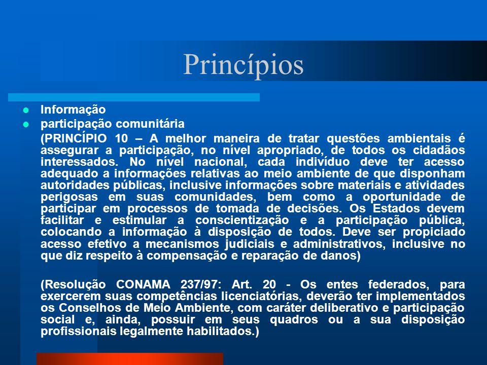 Princípios Informação participação comunitária